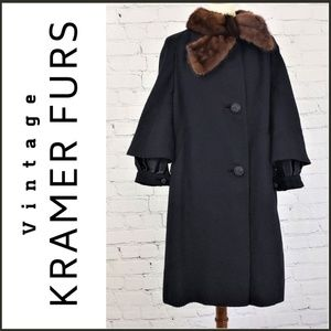 VINTAGE KRAMER FURS Black Wool with Fur Collar 12